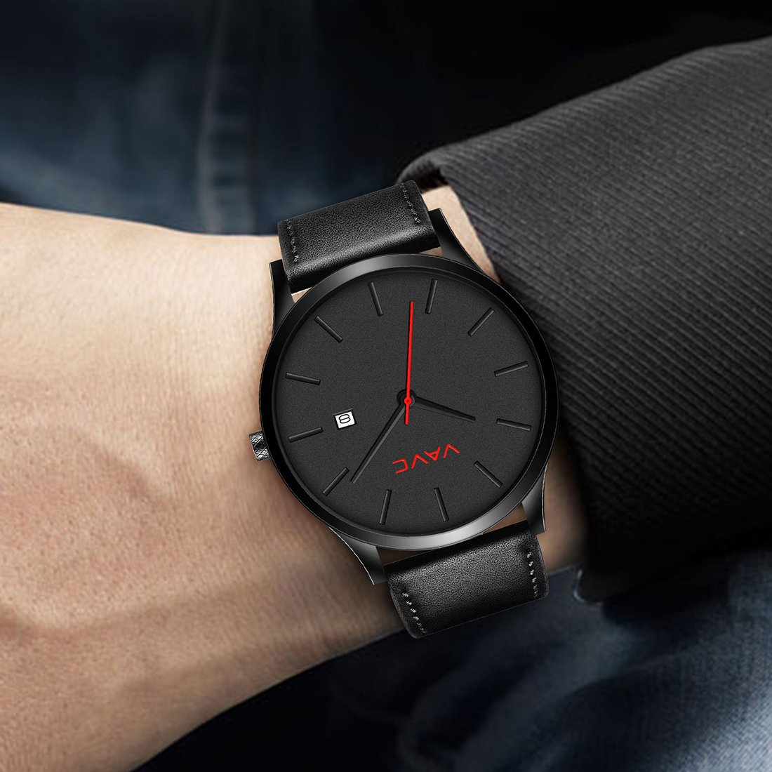 Black Faced Leather Strap Watch Pictures